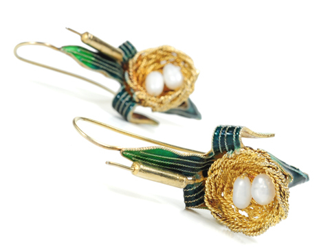 Novelty in a Victorian Bird Nest Earring