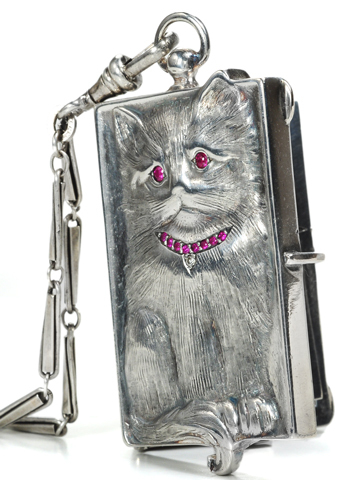Antique Ruby Cat Pendant Minaudiere