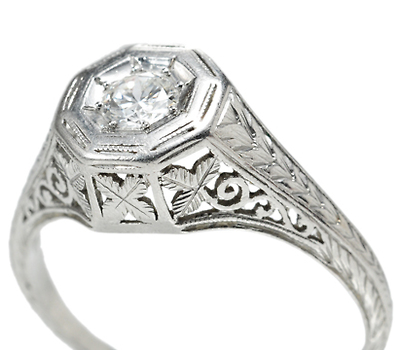 Leaves of Platinum - Estate Diamond Ring