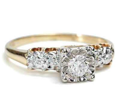 Vintage Flower in a Diamond Ring