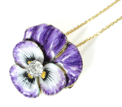 Pansy Pendant Brooch with Diamond Center