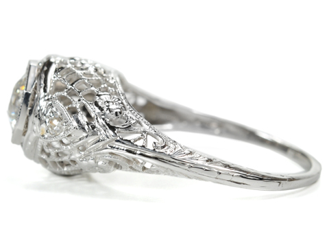Hearts & Flowers in a Roaring 1920s Diamond Ring