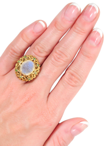 Magnificent Carved Moonstone Ring