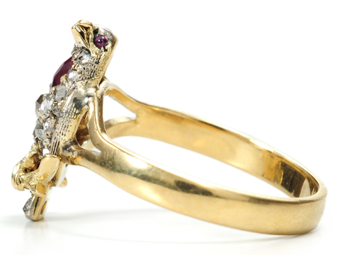 Victorian Era Tweet: Gem-set Bird Ring