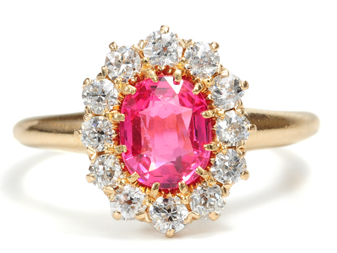 Edwardian Pink Spinel & Diamond Ring