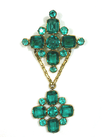 Impressive Georgian Emerald Paste Parure in Box
