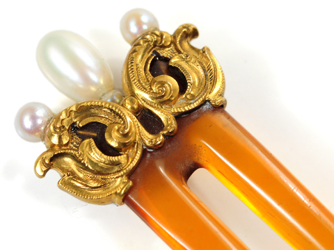 Art Nouveau Hair Comb with Pearls