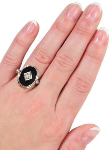 Study in Black & White - Art Deco Ring