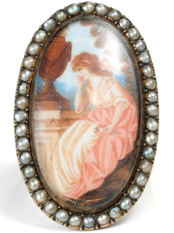 Contemplation  - Georgian Portrait Miniature Ring