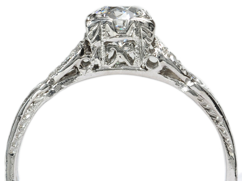 Art Deco Swirl: Diamond Platinum Ring