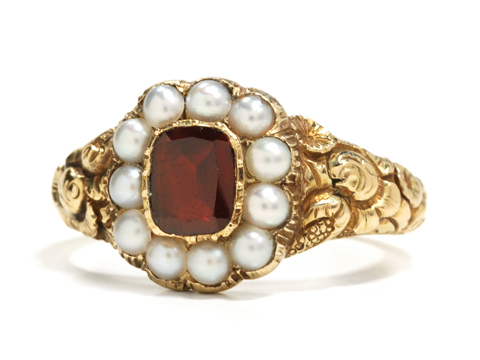 Time & Love: Georgian Pearl Garnet Ring