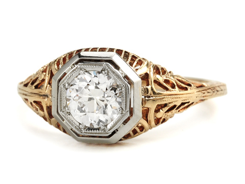 Edwardian Engraved Diamond Ring