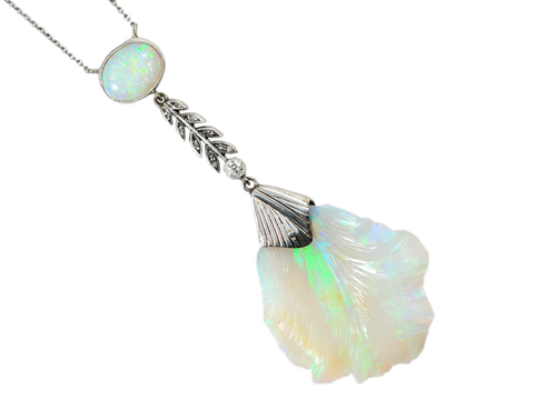 Essence of Elegance: Carved Opal Pendant & Original Box