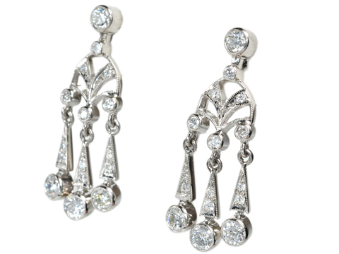 English Diamond Chandelier Earrings