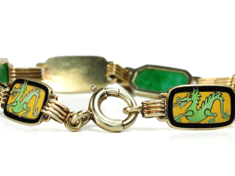 Art Deco Dragons in a Enamel & Jadeite Bracelet