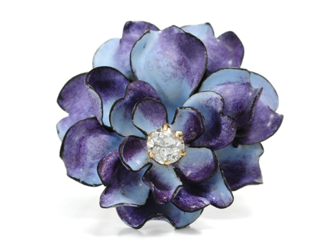 Edwardian Splendor: Enamel Diamond Set Rose Brooch
