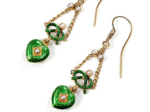 Edwardian Romance: Enamel Heart Earrings