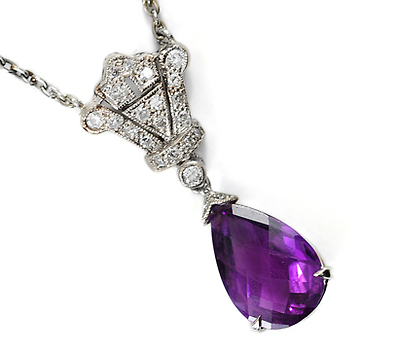 Shades of Edwardian: Amethyst & Diamond Estate Pendant