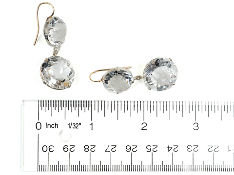 Art Deco Double Drop Rock Crystal Earrings