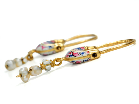 "Scarce & Exquisite 17th C. Enamel ""Boat"" Earrings"