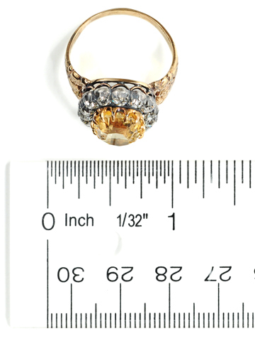 Victorian Yellow Sapphire Diamond Cluster Ring