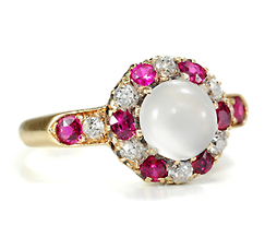 Moonstruck: Antique Moonstone Ruby Diamond Ring