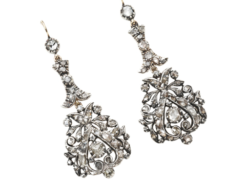 Georgian Diamond Drop Earrings