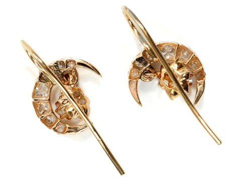 Victorian Diamond Crescent Moon Earrings