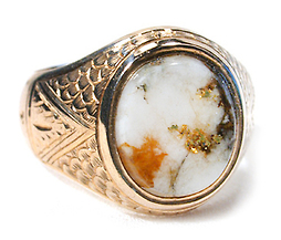 Antique Gold in Quartz Ring