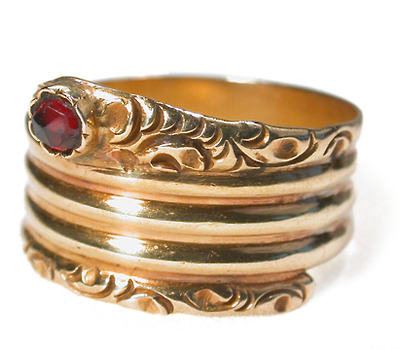 Antique Garnet & 19k Gold Snake Ring
