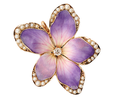 Antique Gem Set Enamel  Flower Pendant Brooch