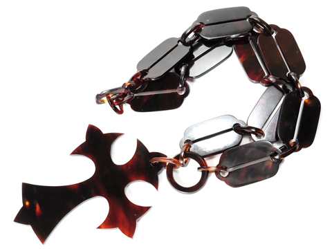 Victorian Large Tortoiseshell Cross & Chain