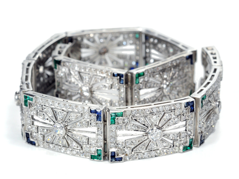 Exquisite Art Deco Gem-Set Platinum Bracelet