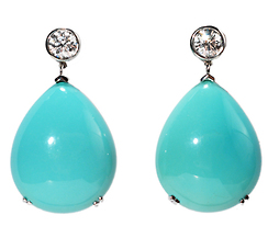 Striking Turquoise & Diamond Earrings