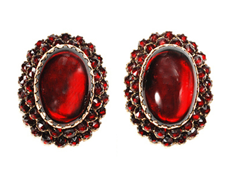 Grand Victorian Bohemian Garnet Earrings