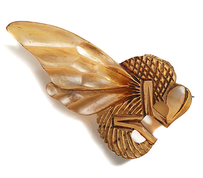 Art Nouveau  Horn Brooch by Flamand