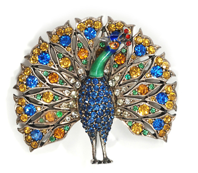 Art Deco Peacock Paste Brooch