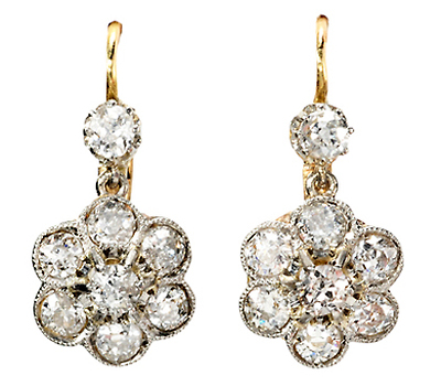 Diamond Floral Cluster Drop  Earrings