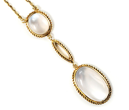 Edwardian Moonbeams: Cabochon Moonstone Pendant