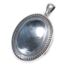 Large Victorian Silver Locket Pendant