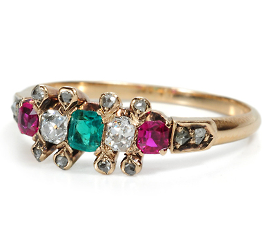 Trifecta of Gems: Antique Gold Victorian Ring
