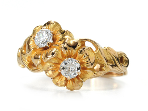 Edwardian Golden Blossoms in a Diamond Ring