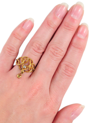 Sensuous Snake Ring with Heart