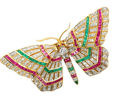 En Tremblant: Gem Set Butterfly Brooch