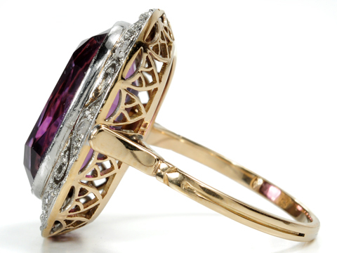 Grande Dame -  Amethyst & Diamond Ring