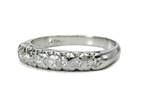 Diamond Set Platinum Half Eternity Band