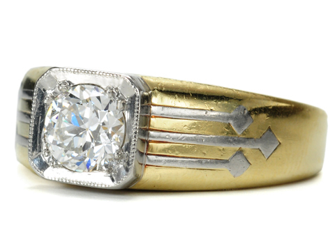 J. E. Caldwell Art Deco Platinum & Gold Diamond Ring
