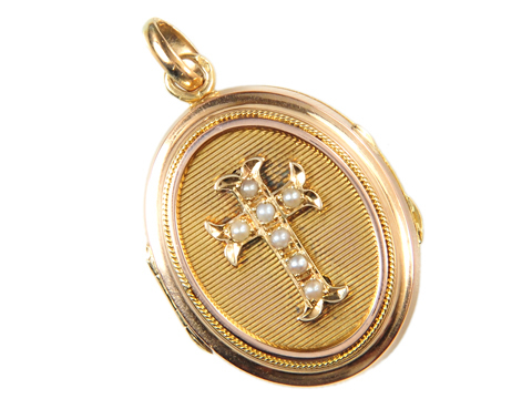 Antique French Pearl Cross Locket