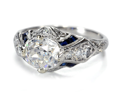 American Art Deco Diamond Sapphire Ring of 1.47 c