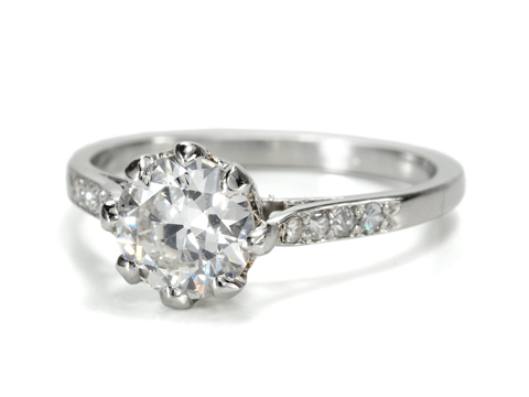 Earlier 20th C. Diamond Platinum Ring